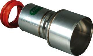 Flex RVS QA verloop Ø 60 mm - Ø 80 mm met ring (spie-mof)