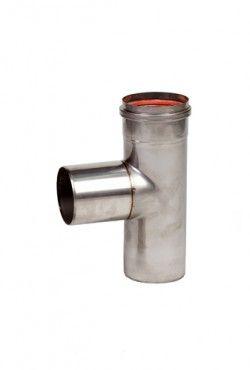 RVS blank Ø 80 mm T-stuk 90° Mof/Spie/Spie