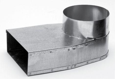 Instort 220/80 mm lepe hoek Ø 150mm links Gegalvaniseerd