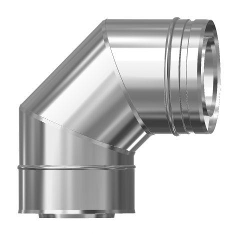 Concentrisch CFS RVS/RVS Ø 130/200 mm bocht 90°