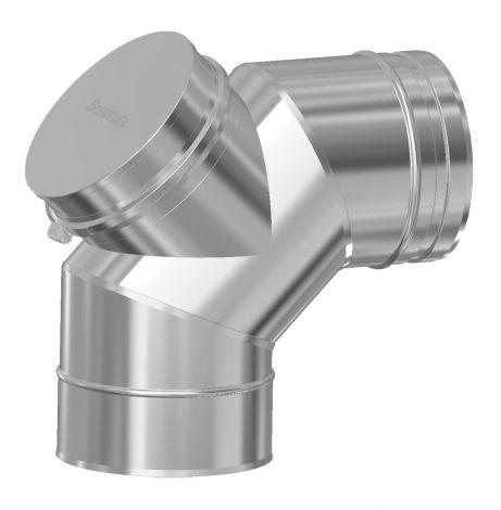 Concentrisch CFS RVS/RVS Ø 100/150 mm bocht 90° +  inspectieluik