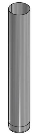 Kachelpijp Blank RVS Ø 180 mm Pijp L = 1000 mm
