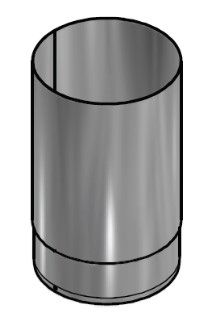 Kachelpijp Blank RVS Ø 200 mm Pijp L = 250 mm