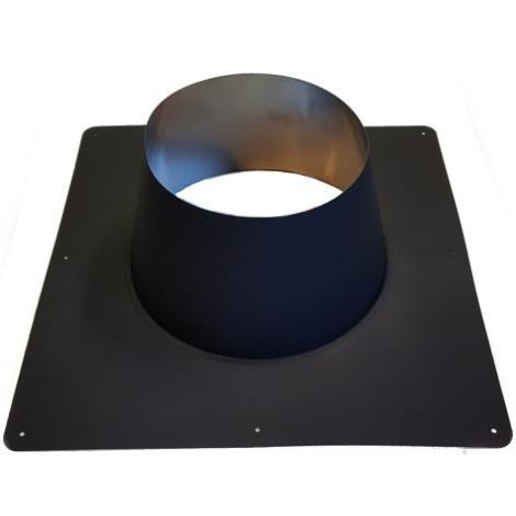 ICS 25 RVS Ø 80/130 mm dakplaat platdak 0° Zwart