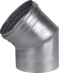 Dikw. Aluminium Ø 110 mm las segmentbocht 45°