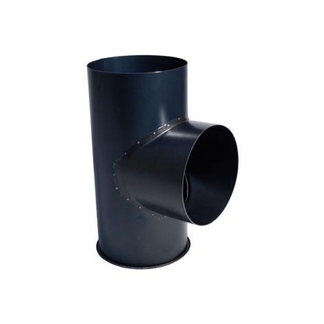 Blauw gegloeid Ø 111 mm T-stuk met Dop