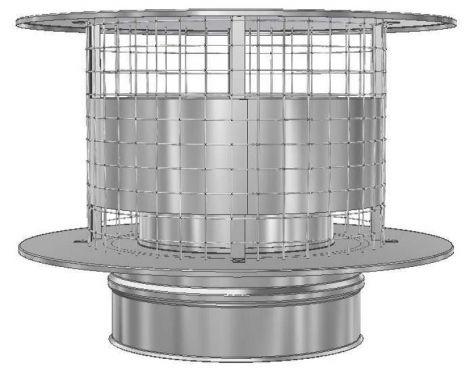 RVS Ø 130 mm trekkende kap met vonkengaas