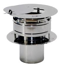 RVS Ø 125 mm trekkende kap met veegluik